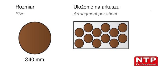 Filc samoprzylepny Ø40 brązowy
