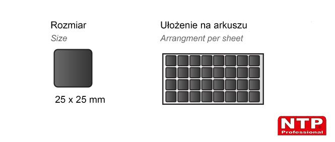 Podkładka antypoślizgowa samoprzylepna 25x25 czarna