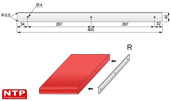 listwa boczna prawa 38mm rysunek techniczny