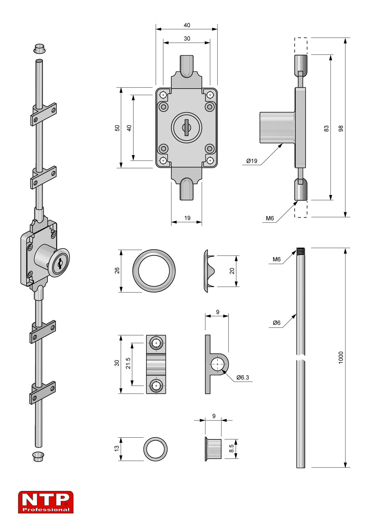 zamek baskwilowy 19x22 rysunek techniczny