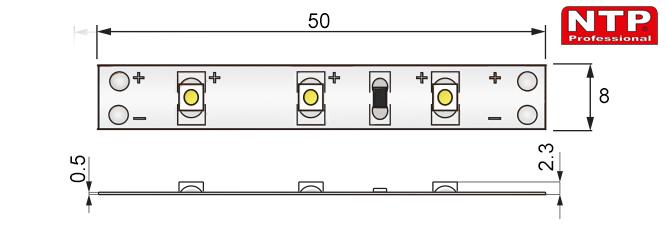 taśma ledowa IP20 LED300 SMD3528 rysunek techniczny