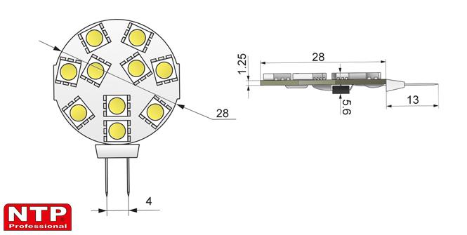 źródło światła LED SMD5050 rysunek techniczny
