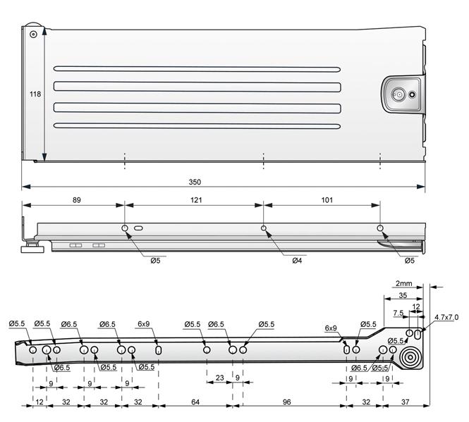 metalbox 118x350 rysunek techniczny