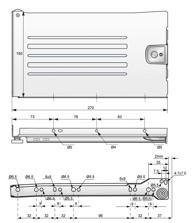 metalbox 150x270 rysunek techniczny