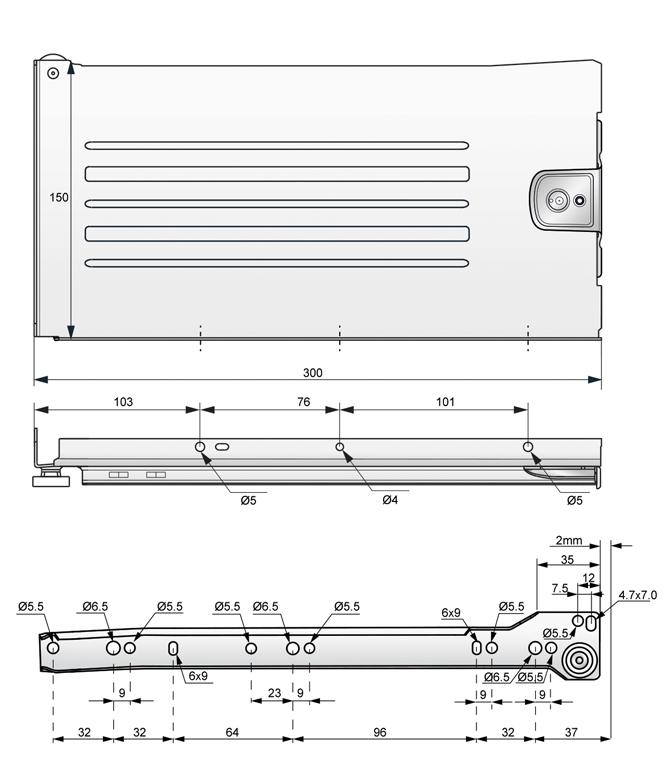 metalbox 150x300 rysunek techniczny
