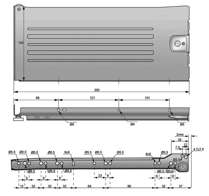 metalbox 150x350 rysunek techniczny
