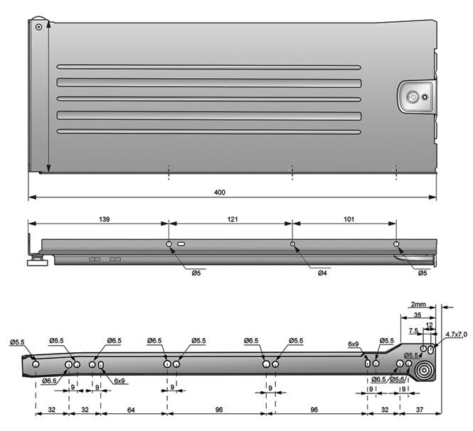 metalbox 150x400 rysunek techniczny