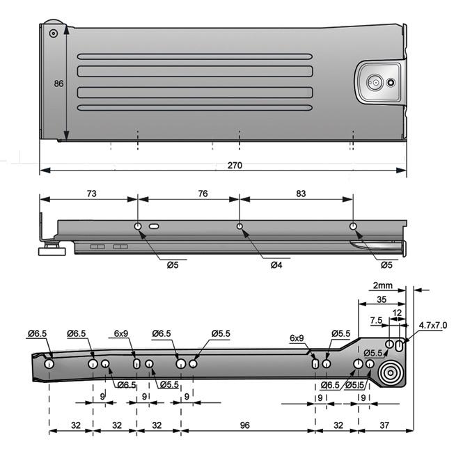 metalbox 86x270 rysunek techniczny