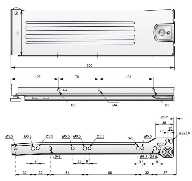 metalbox 86x300 rysunek techniczny