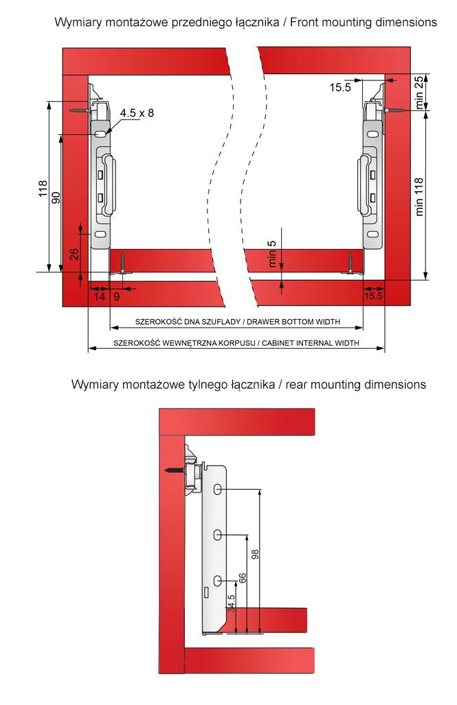 Wymiary montażowe metalboxu H=118mm