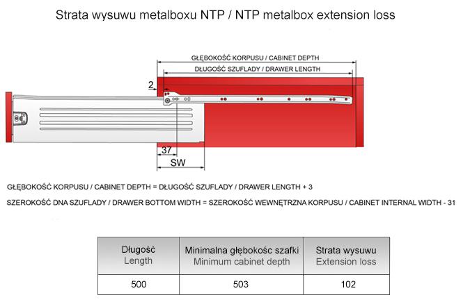 Strata wysuwu metalboxu H=118 L=500mm