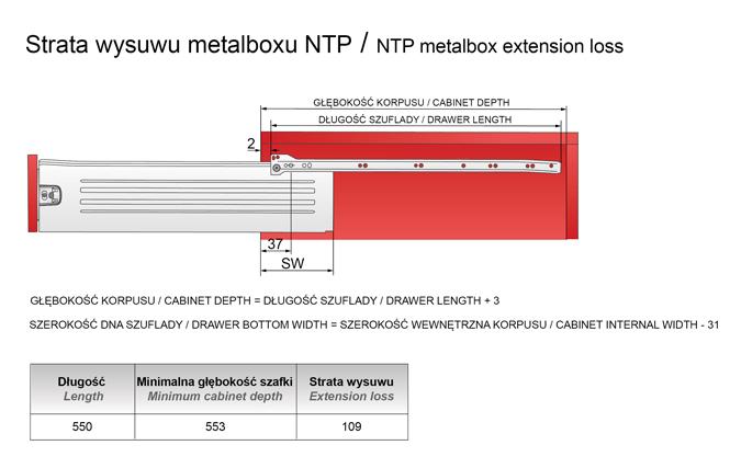Strata wysuwu metalboxu H=118 L=550mm