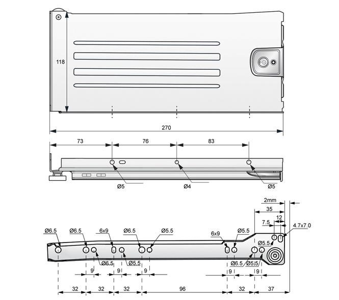 metalbox 118x300 rysunek techniczny