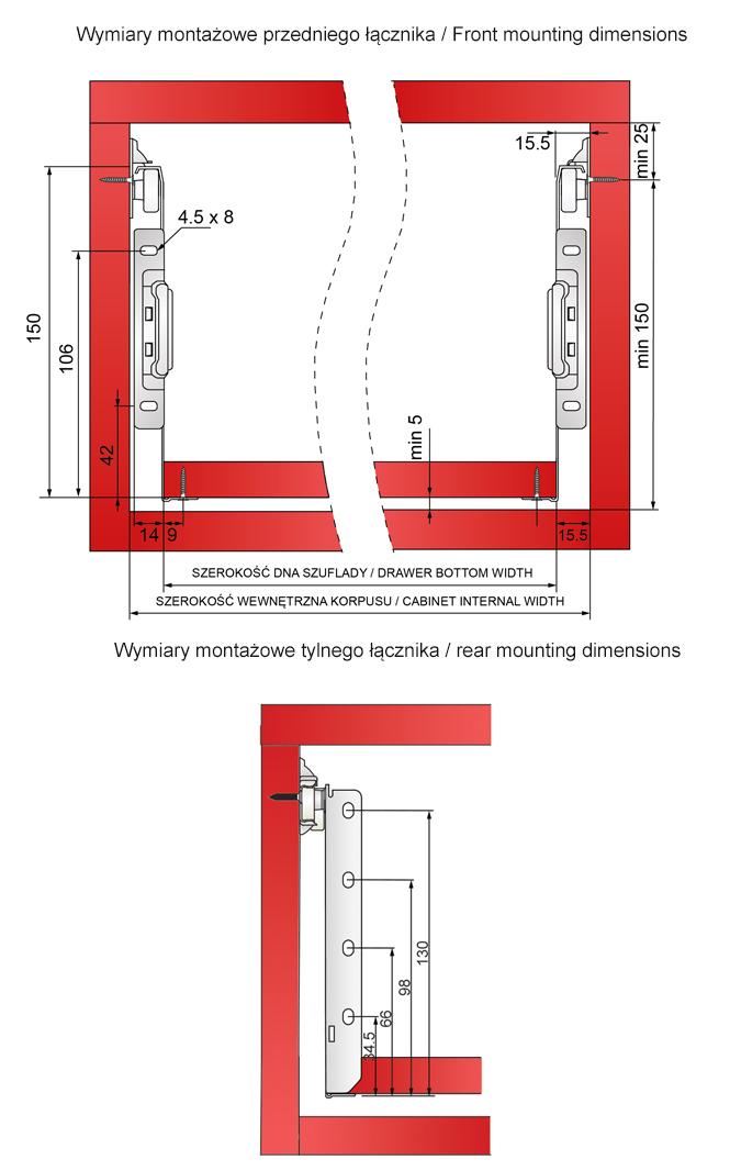 Wymiary montażowe metalboxu H=150mm