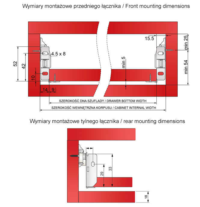 Wymiary montażowe metalboxu H=54mm