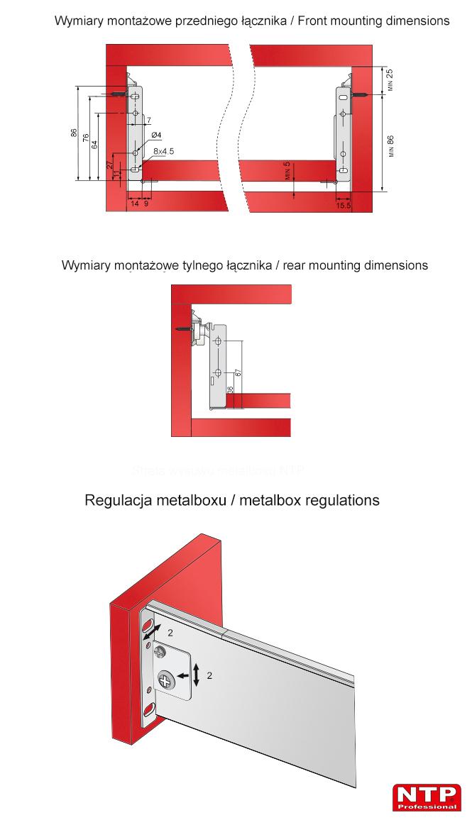 Wymiary montazowe i regulacja metalboxu H=86mm
