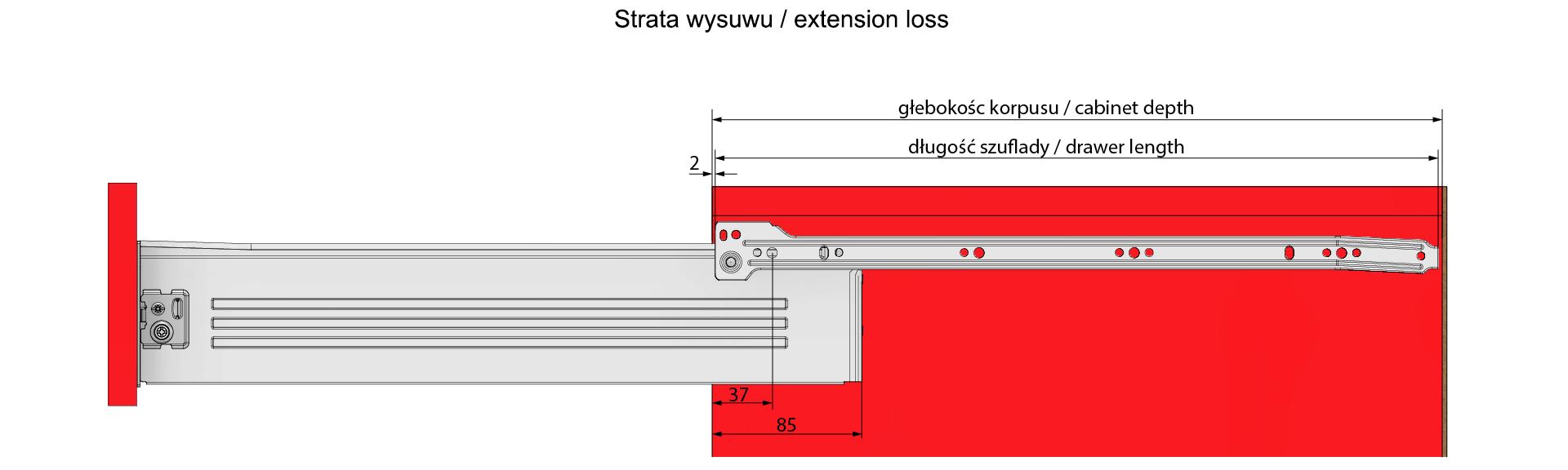 Strata wysuwu metalboxu H=86 L=300mm