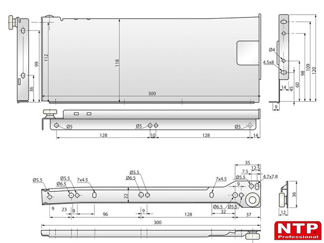 Metalbox 118x300 rysunki techniczne