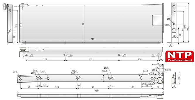 metalbox 118x450 tysunek techniczny