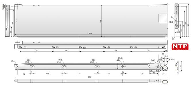metalbox 118x550 rysunki techniczne
