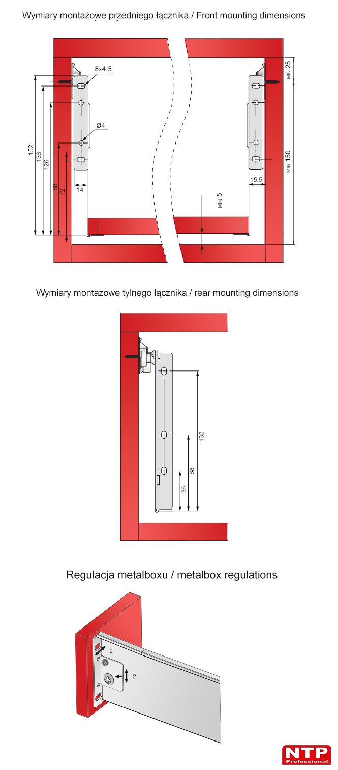 Wymiary montażowe i regulacja metalboxu 150mm
