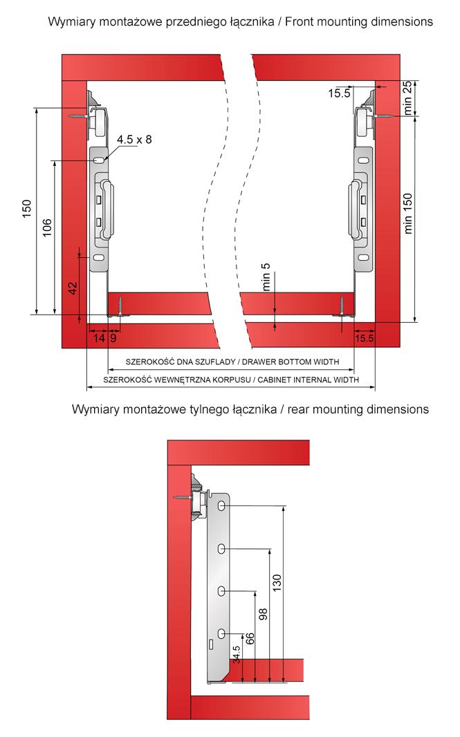 wymiary montażowe i regulacja metalboxu H-150