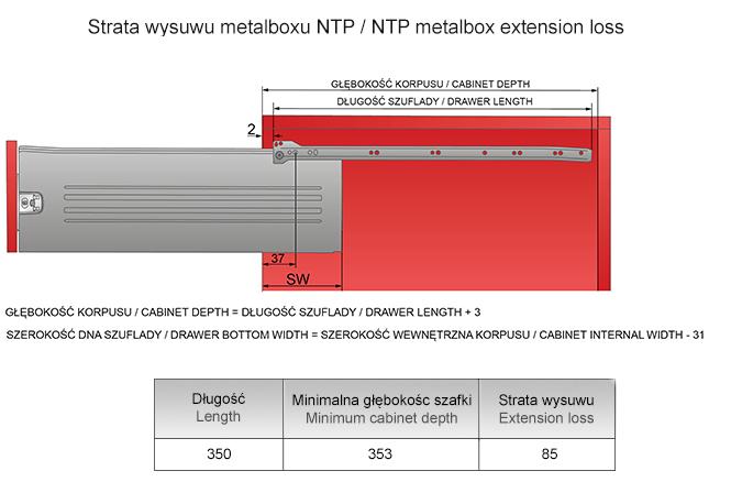 Strata wysuwu metalboxu H=150 L=350mm