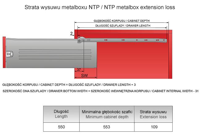 Strata wysuwu metalboxu H=150 L=550mm