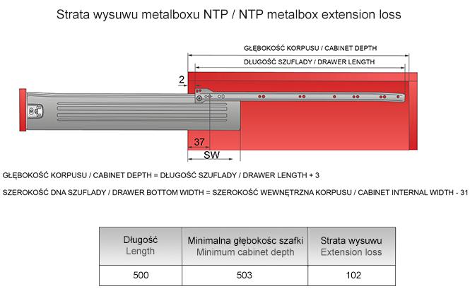 Strata wysuwu metalboxu H=86 L=500mm