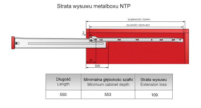 Strata wysuwu metalboxu H=86 L=350mm
