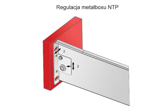 regulacja frontu i ilustacja montażowa metalboxu h=86