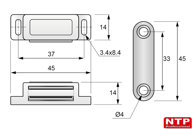 zatrzask magnetyczny rysunek techniczny