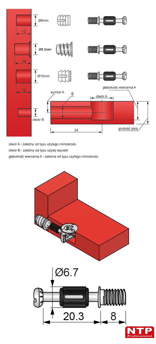 zaczep mimośrodu 24mm euro rysunek techniczny