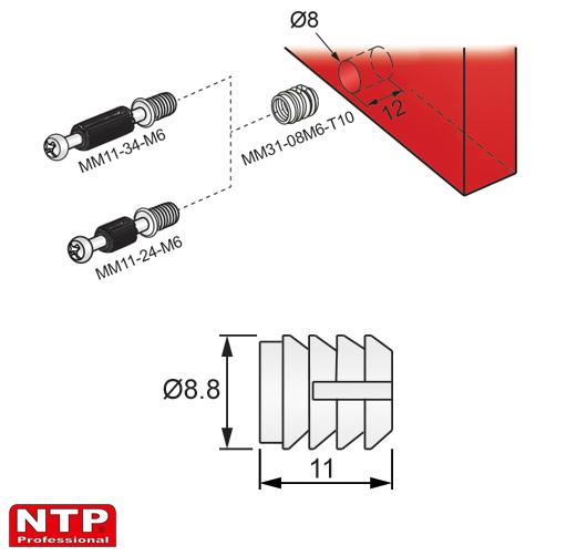 wpustka d=8mm rysunek techniczny