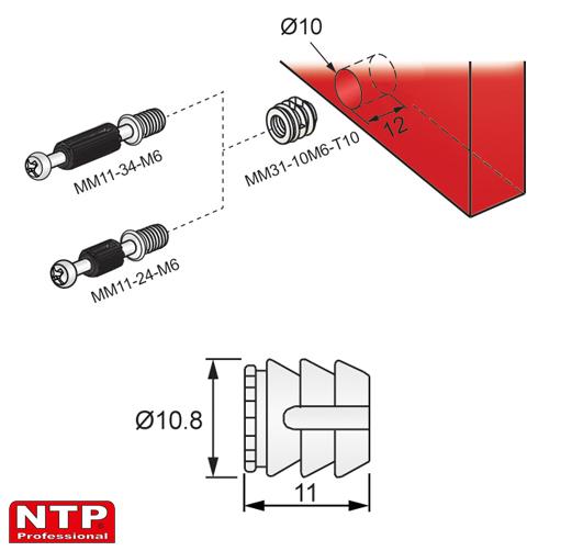 wpustka d=10mm rysunek techniczny