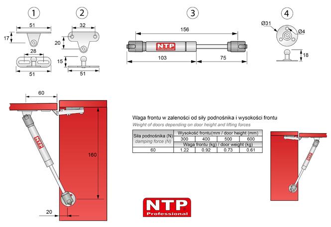 podnośniki gazowe 160mm rysunki techniczne