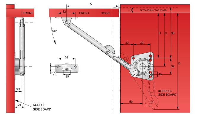 Podnośnik mechaniczny PH01 wymiary montażowe