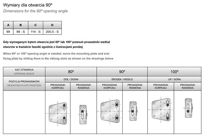 Podnośnik mechaniczny PH01 kąty otwarcia