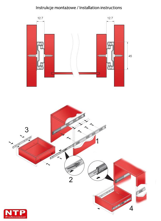 Instrukcje montażowe prowadnic PK45N