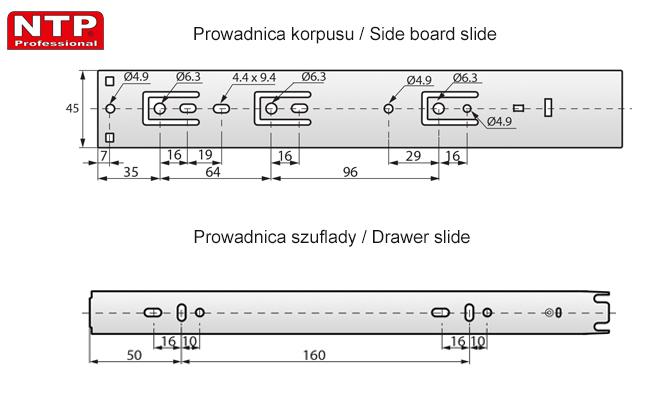 Prowadnica kulkowa push to open h-45-l-300 rysunki techniczne