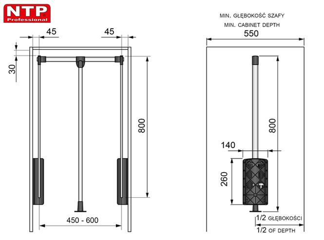 PANTOGRAF NTP 450-600 rysunki techniczne
