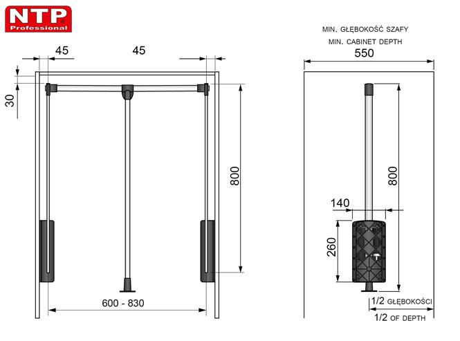 PANTOGRAF NTP 600-830 rysunki techniczne