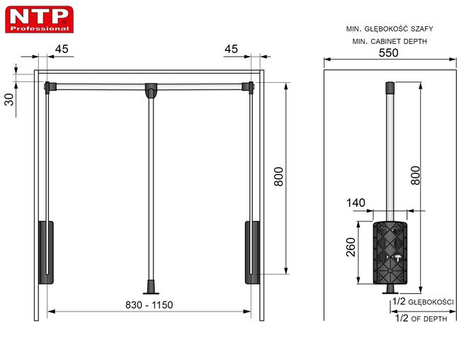 PANTOGRAF NTP 830-1150 rysunki techniczne