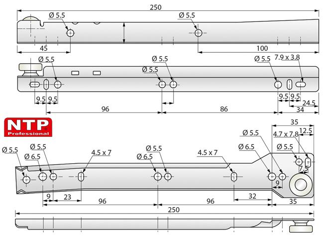 Prowadnica rolkowa L-250 rysunek techniczny