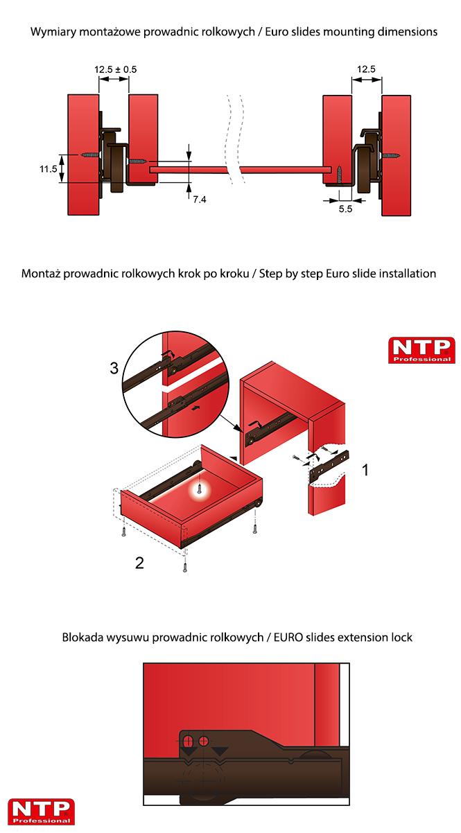 Montaż prowadnic rolkowych rysunki techniczne