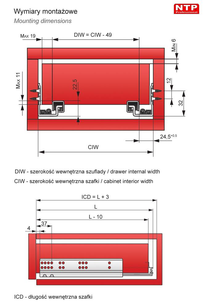 prowadnica podszufladowa rysunki techniczne
