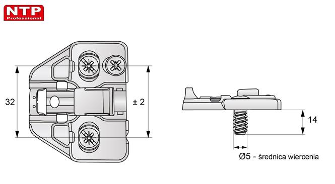 Prowadnik H=2 z regulacją mimośrodową rysunek techniczny