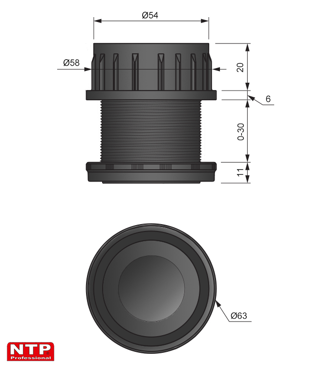regulator rury fi 60mm rysunek techniczny