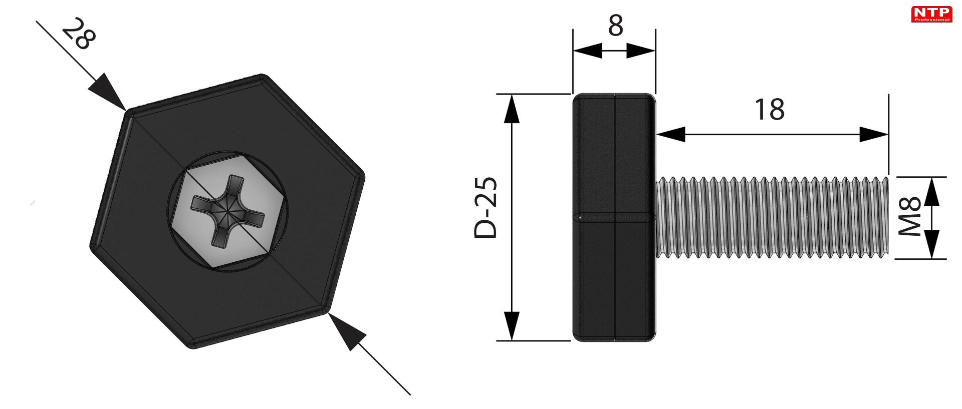 regulator pzoziomu M8 rysunek techniczny