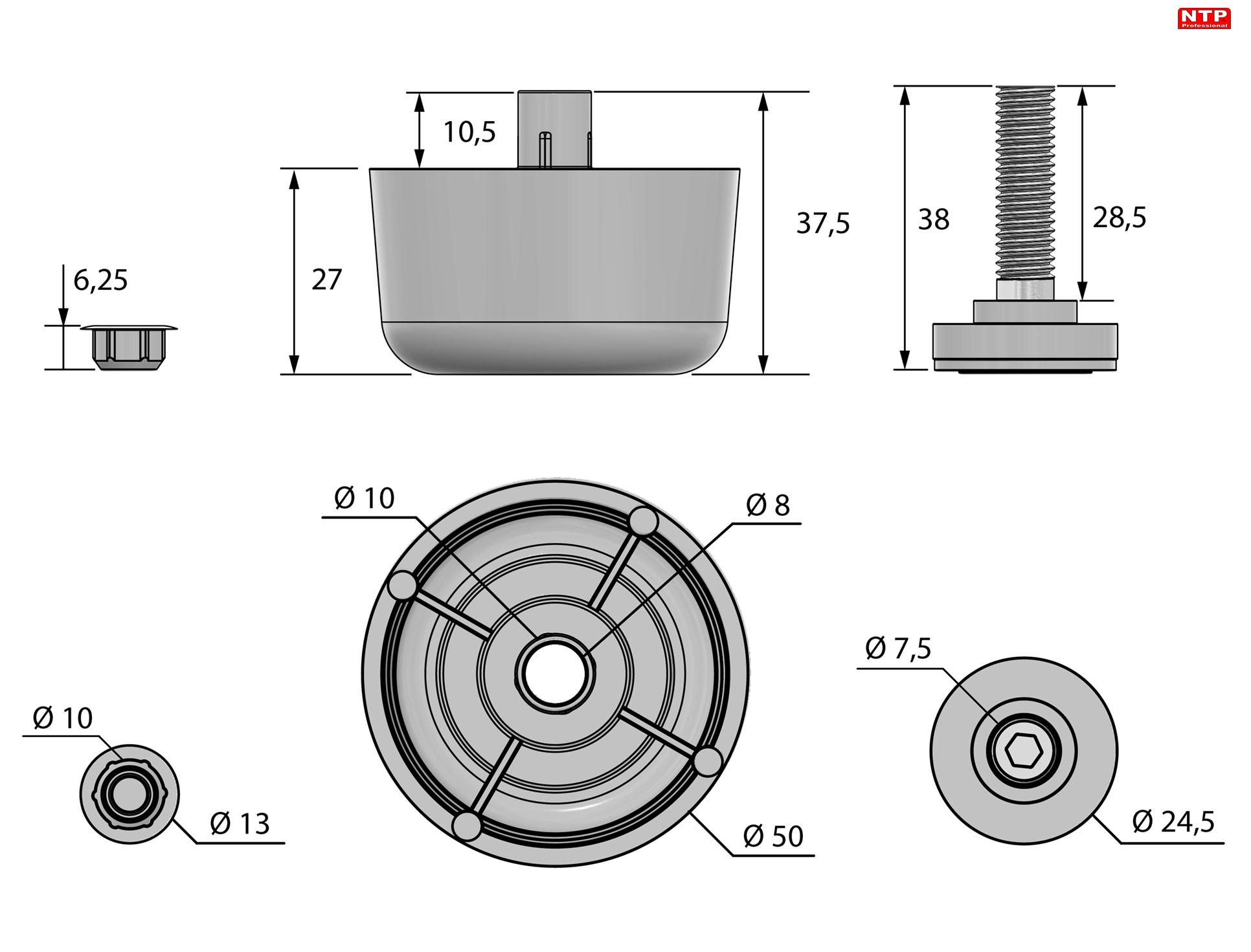 Regulator poziomu RP03-5027-T80 rysunek techniczny